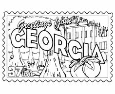 Georgia State Stamp Coloring Page