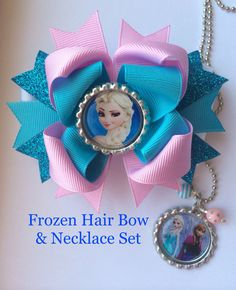 Frozen Hair Bow and Frozen Necklace Set by TheJMarieBoutique