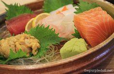 Sashimi Moriawase -- fresh shake (salmon), maguro (tuna), ika (cuttlefish) and uni (sea urchin)