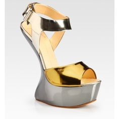 Giuseppe Zanotti Metallic Patent Leather Curved-Wedge Sandals ($895) ❤ liked on Polyvore