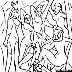 100 free coloring page of Pablo Picasso painting - Les Demoiselles dAvignon. You be the master painter! Color this famous painting and many more! You can save your colored pictures, print them and send them to family and friends! Kunst Picasso, Picasso Drawing, Picasso Art, Picasso Paintings, Popular Artists, Famous Artists, Painting Templates, Colouring Pages, Free Coloring