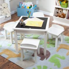 Classic Playtime Reversible Top Table with Optional Stools - Vanilla