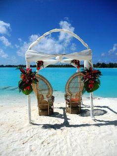 The St. Regis Bora Bora #Resort - #Wedding Arch on Private Islet #Beach | boraboraphotos.com