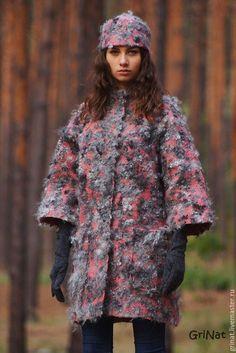 """Купить Пальто""""Морозный туман"""" - комбинированный, шубка, пальто, Пальто ручной работы, grinat, наталия гришаева"""