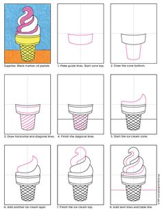 Easy Drawings draw ice cream cone - If you are past drawing the basic ice cream cone with a triangle Art Drawings For Kids, Drawing For Kids, Easy Drawings, Art For Kids, Summer Drawings, Drawing Projects, Drawing Lessons, Art Lessons, Art Projects