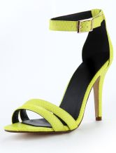 Neon Green PU Leather Snake Print Stiletto Heel Women's Dress Sandals