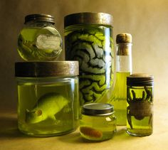 DIY: Creepy Specimen Jars for Halloween decoration. 7 drops yellow and 1 drop…