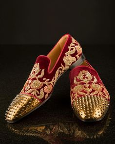 Mens red loafers with spikes on the toe caps by Sabyasachi x Christian Louboutin is part of Dress shoes men - Men's Wedding Shoes, Wedding Dress Men, Wedding Men, Wedding Groom, Red Loafers, Loafers Men, Men Dress, Dress Shoes, Dress Clothes