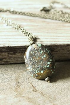 Simple style natural turquoise pendant by HavenHummingbird on Etsy, $21.00