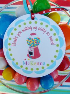 Bubblegum Candy Shop Party Favor Tags Set by ThePolkaDotPartyShop, $6.00