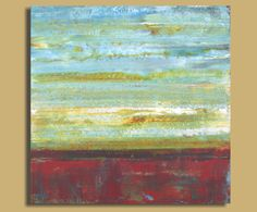 Large Abstract Painting in Aqua and Burgundy by SageMountainStudio