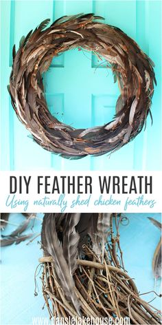 Need Feather Wreath Ideas/ Check Out This DIY Feather Wreath Tutorial (Using Chicken Feathers). Learn how to make a DIY feather wreath - it's EASY. Click through for this fall wreath DIY and more easy DIY fall craft ideas. Fall wreaths for front door inspiration and DIY fall wreaths. Fall DIY decor and fall DIY projects galore! Fall DIY decorations anyone can make, including fall DIY wreaths. Chicken crafts DIY ideas.