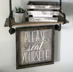 Please Seat Yourself Framed Wood Sign Funny bathroom sign Coastalcraftymama