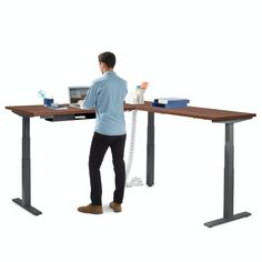 Green House Design, Building Management, Sit To Stand, Adjustable Desk, Low Tables, Range Of Motion, Furniture Collection, Corner Desk, Charcoal