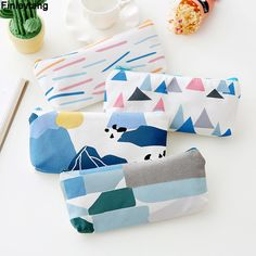 New Cute Pencil Case Green Canvas Pencil Bag School Stationery Supplies Kawaii and Fresh Forest Gift Kid Gift Novelty Pencil Bag
