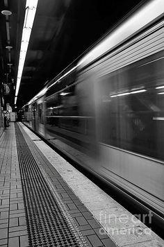 """Fast Train - Black And White"" by Kaye Menner. Black And White Picture Wall, Black And White Posters, Black And White Wallpaper, Black N White, Black And White Pictures, Black And White Instagram, Black Aesthetic Wallpaper, Black And White Aesthetic, Aesthetic Colors"