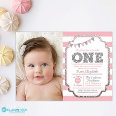 Pink and gold 1st birthday invitation girl any age pink gold heart pink and silver invitation 1st birthday invitation girl birthday invitation silver glitter invitation printable invite kids birthday filmwisefo