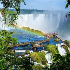 The magnificent Iguazu Falls is the world's largest water fall system dividing Brazil and Argentina. How would you feel standing on the verge of these cliffs?  #iguazufalls #nature #waterfall #argentina #brazil #travellink #travellinknordic