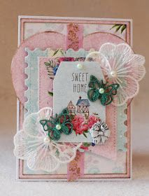 Home Sweet Home card with shabby chic papers and colours, made for ScrapBerry's.