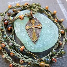 NEW Earthy Pewter Cross Handmade Necklace . RUSTIC BOHO Crocheted Necklace . Artisan Jewelry . Inviciti Charms by RusticAdornments on Etsy