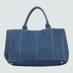 Prada Denim Fabric Tote Bag Blue 9651