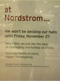 I WISH all stores would do this.  Thanksgiving has become lost in all the Christmas decorations!  Repin!