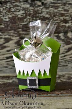 Christmas Elf fry box-stampin up Christmas Paper Crafts, Stampin Up Christmas, Christmas Projects, Holiday Crafts, Christmas Holidays, Christmas Favors, Handmade Christmas, Christmas Ideas, Fry Box