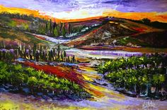 """""""Valley on the Vines"""" #Landscape #grapevines #expressionistic painting on board 30 x 40 acrylic palette knife  #nicoleslater.com  #nicoleslaterart"""