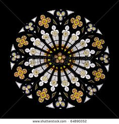 Stained Glass Gothic Window In Church Isolated On Black Stock ...