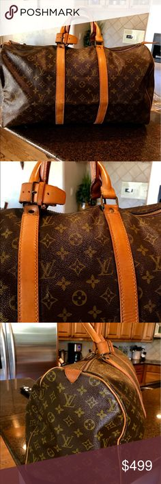 Beautiful Vintage Louis Vuitton Boston Keepall 50 Beautiful Vintage Louis Vuitton Boston Keepall 50.  Inside is very clean.  Outside canvas is in good condition no rips or tears.  The vachetta  leather is in good condition with a few minor cracks nothing major. The rivets are new they do not say Louis Vuitton however the bag overall is in really good condition. The code is SD? Cannot read the rest it is worn off due to the age of the bag.  There is one zipper pull on this bag.  Great travel…