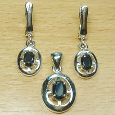 Oval Cut Genuine Sapphire Marcasite 925 Sterling Silver Solitaire Jewelry Set