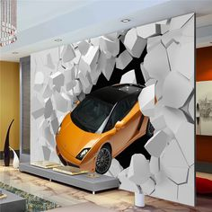 3D Sports Car Photo Wallpaper Giant Wall Mural Unique Design wallpaper Bedroom Hallway decor Sofa TV setting wall Art Decoration