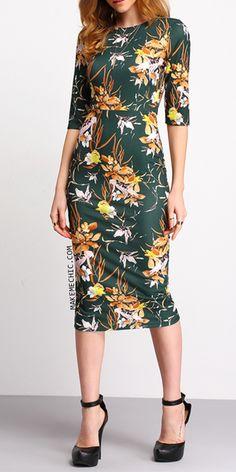 Green Mock Neck Floral Sheath Dress