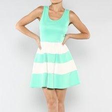 Color Block MINT & White Skater Sleeveless Dress