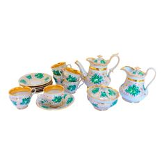 Beautiful antique hand painted coffee or tea set as shown. Minor interior flaw to pot inner rim that is a firing defect. This set has six cups and six saucers, a creamer, a sugar and tea pot with lid. Stunning Wallpapers, Tea Service, China Porcelain, Porcelain Tiles, Ginger Jars, Traditional Decor, Decorative Items, Tea Party, Flaws