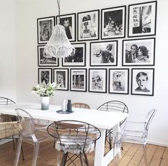 Dining Area / black and white framed photos // decor