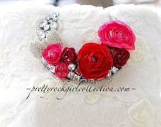 Red/pink silk floral rhinestone bib necklace by PrettyRockGirl