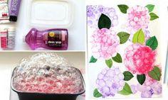 Peindre avec des bulles! Réaliser de magnifiques fleurs d'Hydrangea