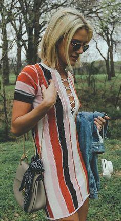 $60 Cute T-Shirt Rainbow Coloured Striped Lace Up Mini Dress With Round Rayban Retro Sunglasses