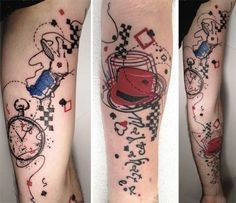 What does alice in wonderland tattoo mean? We have alice in wonderland tattoo ideas, designs, symbolism and we explain the meaning behind the tattoo. Lila Tattoos, Purple Tattoos, Trendy Tattoos, Body Art Tattoos, Tattoos For Guys, Cool Tattoos, Tattoo Art, Tatoos, Tattoo Drawings