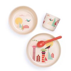 Elephant Bamboo Plate,Baby weaning Set Bamboo Cute dinnerware Blue Cozy Vibe Kids Suction Plate