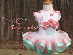 Anna's Birthday Collection- Rich pink and Tiffany- Includes top, tutu and hairbow- GORGEOUS. $61.99, via Etsy.