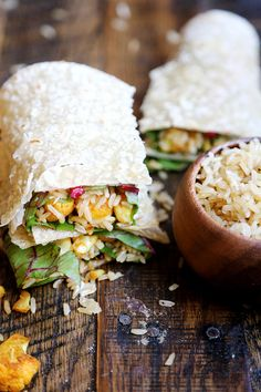 Fragrant Garlic Rice and Spicy Curried Cauliflower Wraps - Grains and Legumes, Recipes - Divine Healthy Food