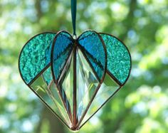 Stained Glass Suncatcher Heart Red Home Decor Sun por JasGlassArt