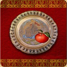 """сказка о наливном яблочке: Russian first tablet. Steve Jobs stole not only the idea, but the name, too. (Illustrations to the Russian tale """"The silver saucer and filler apple"""" - apple rolls on the saucer and saucer owner sees what happens with a loved one)"""