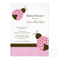 Ladybug Baby Shower Invitations In Pink Brown