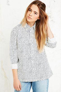 BDG Spotty Poplin Shirt in Ivory #urbanoutfitters