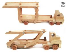 Car Carrier Trailer wood toy