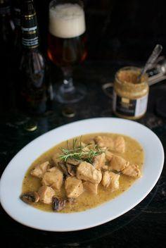 Receta de guiso de pavo con salsa de cerveza y champiñones