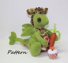 PATTERN PDF for Dragon with Cupcake & Carrot by BecomingBearsETC, $9.00